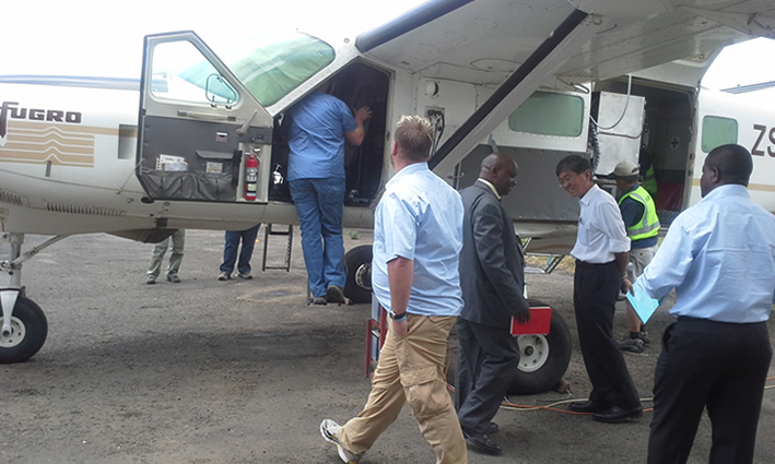 Technical Staff from National Oil Corporation and Fugro Airborne carry an inspection on FTG Aircraft at Wilson airport